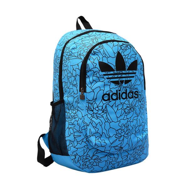 Городской рюкзак Adidas голубой с черными рисунками (реплика)