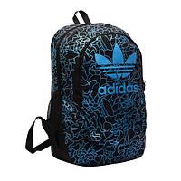 Городской рюкзак Adidas черный с голубыми рисунками