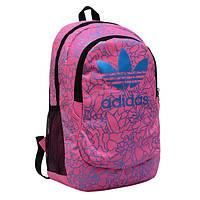 Городской рюкзак Adidas розовый с голубыми рисунками