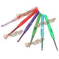 6шт мульти размеры алюминиевого пластиковой ручкой вязать крючки ткать крючком