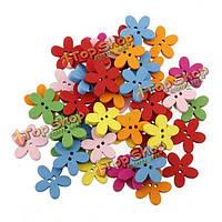 100шт красочные цветы пришивные пуговицы деревянные DIY швейных ремесло