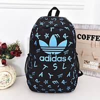 Городской рюкзак Adidas черный с голубыми буквами