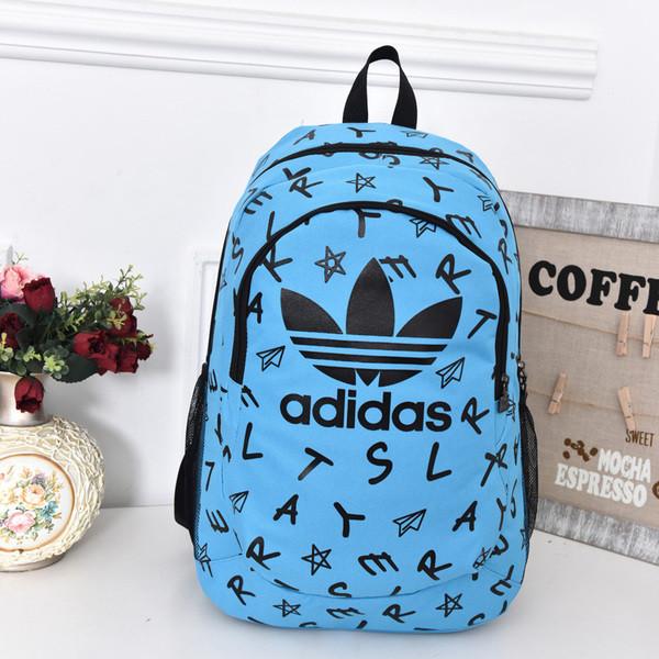 Городской рюкзак Adidas голубой с черными буквами (реплика)