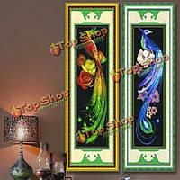 34x76см DIY вышивка крестом синий золотой феникс печати вышивки комплект домашнего декора рукоделию