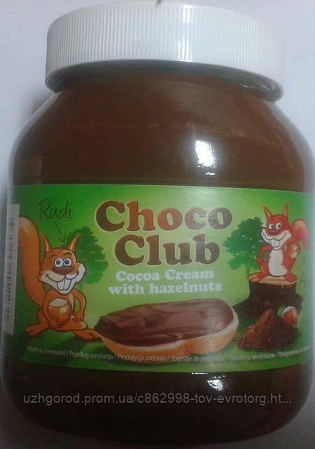 """Шоколадная паста """"Choco Club"""" 0.750 г. с вкусом ореха."""