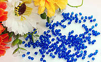 Бусины с гранями мелкий ромбик 4мм синий (электрик)