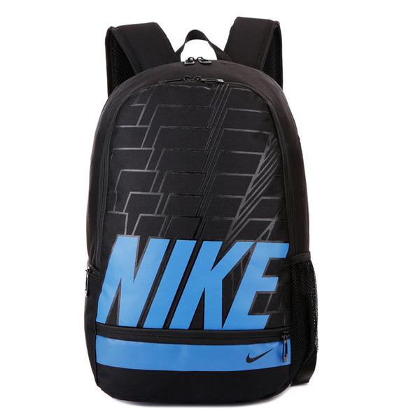 Спортивный рюкзак Nike черный с синей надписью (реплика)