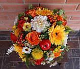 Композиция из цветов в тыкве, фото 2