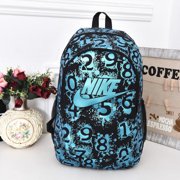 Рюкзак Nike черный с голубым логотипом и цифрами (реплика)