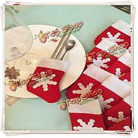 Рождество мини столовые приборы носки новогодняя елка висит декор