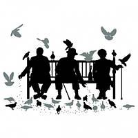 Наклейка интерьерная на Стену Trio on the Bench