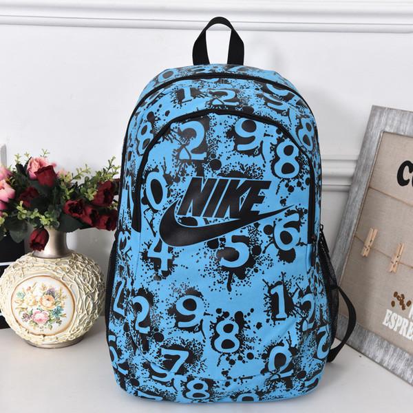 Рюкзак Nike голубой с черным логотипом и цифрами (реплика)
