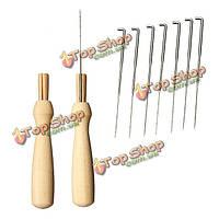 7 иглы 1 иглы для валяния с деревянной ручкой держатель шерсть для валяния инструменты