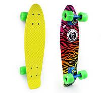 Пенни Борд Fish «Zoo» 22″ Зеленые Колеса / пенниборд скейт (penny board), скейтборд с рисунком