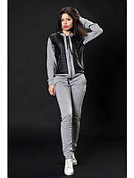 Женский трикотажный спортивный костюм цвет серый меланж