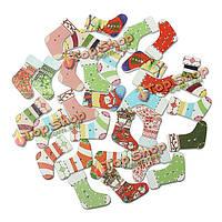 30шт Рождественский чулок формы деревянные пуговицы пришить скрап-карта
