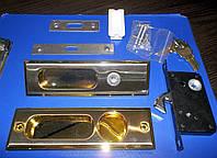 Ручка + замок на раздвижные двери Сатин- Золото, фото 1