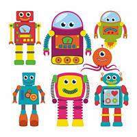 Наклейка на стену в детскую Интерьерная Robots
