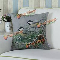 Зеленая птица ветка бросок наволочки хлопок белье талии диван покрытие автомобиля офис подушки