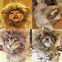 Хз кота собаки любимчика искусственной гривой Льва Хеллоуин костюм парик