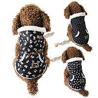 Зима черный хлопок уютный собаки любимчика щенка теплая куртка пальто жилет звезда точка BOWKNOT одежды с крышкой