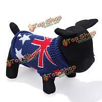 Темно-синий флаг Великобритании собаки любимчика дышащие вязаные свитера и пиджаки одежда