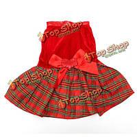 Кота собаки любимчика бант сердце красная клетчатая партия одежды платье юбка