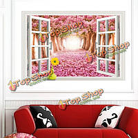 3D Windows вид сакуры съемный стикер стены искусства деколь росписи декора дома