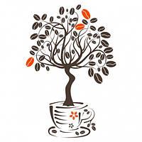Наклейка интерьерная на Стену Coffee Tree