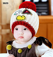 В'язана шапка для дівчинки. 46-52 см, фото 1