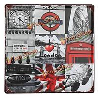 Лондон функция олова, войдите старинные металлические бляшки декор плакат паб в стены дома
