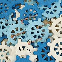 50шт деревянные Mini море руля лома бронирование рукоделие средиземноморские дома украшения белый синий