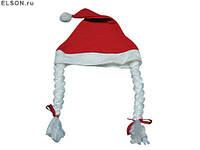 Шапка Снегурочки с косичками новогодняя