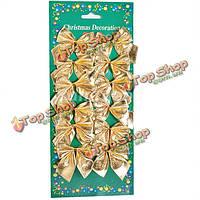 Набор из 12 золотых ткани Bowknot Новогоднее украшение поставок