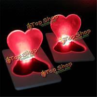 Сворачивание лампы карты милое сладкое сердце LED легкие карманные поздравительные открытки подарка карты бумажника лампочки
