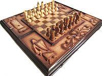 Шахматы-нарды-шашки резные из дерева, фото 1