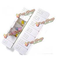 Еженедельно портативный длинный полиэтиленовый карман препарата таблетки коробка для хранения
