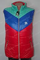 Батальная женская спортивная красная  жилетка безрукавка ADIDAS воротник стойка