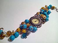 Часы женские бирюза, браслет из бусин