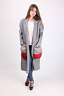 Серое пальто за колено с длинным рукавом