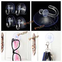 10шт прозрачные чашки Clear присоски всасывания с крюком для кухни стене ванной аксессуары