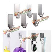 6шт нержавеющая сталь клей вешалка для одежды крючок настенный держатель двери крючок ванной полотенце