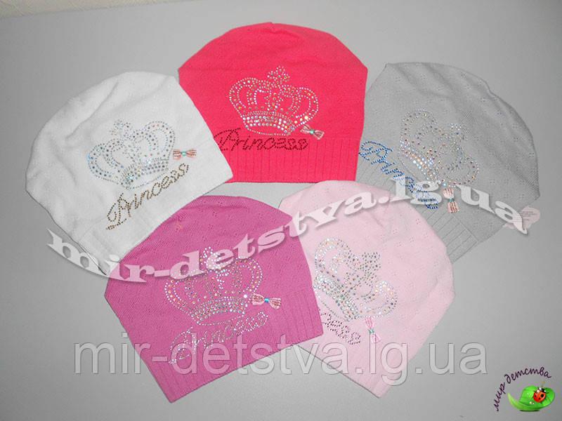 Хлопковые шапки для девочек, 100% хлопок,  р.48-50 см. (5 шт в упаковке)