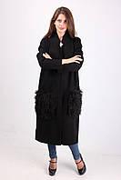 Длинное пальто черного цвета