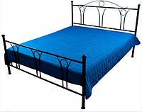 Покрывало на кровать из микрофибры стеганое синее 215х240 см