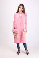 Пальто осеннее нежно розового цвета