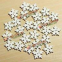 25 Рождество белая Снежинка деревянные пуговицы 2 отверстия DIY швейных ремесло