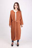 Длинное пальто с поясом коричневого цвета, фото 1