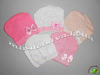 Детские шапки для девочек, осень, 100% акрил,  р.46-48 см. (5 шт в упаковке)