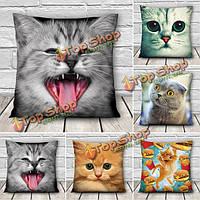 3D милые выражения кошки бросить наволочки диван офис подарок покрытие автомобиля подушки
